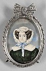 Miniature Painting of Fashionable Woman c1820