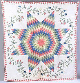 Star of Bethlehem Trapunto Quilt c1880