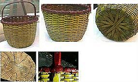 Vibrant and Superb Northeastern Splint Basket  C 1875